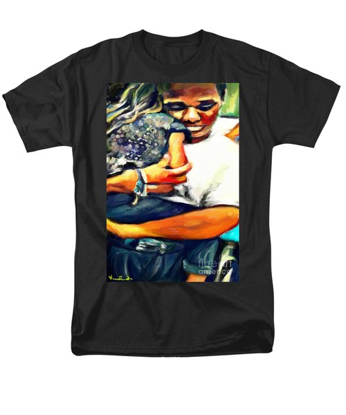 Men's T-Shirt  (Regular Fit) featuring the painting Johnelle Saving The World One Child At A Time by Vannetta Ferguson