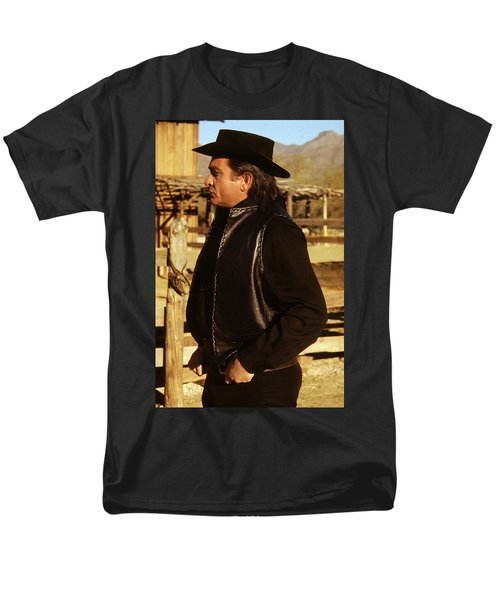 Men's T-Shirt  (Regular Fit) featuring the photograph Johnny Cash Golden Gate Peak Old Tucson Arizona 1971 by David Lee Guss
