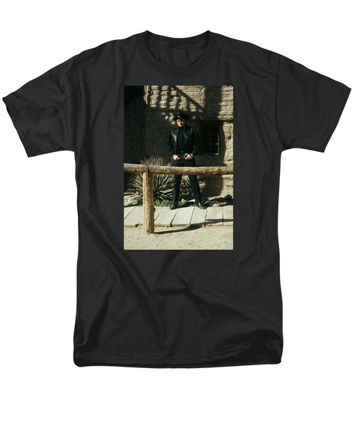 Men's T-Shirt  (Regular Fit) featuring the photograph Johnny Cash Gunfighter Hitching Post Old Tucson Arizona 1971 by David Lee Guss