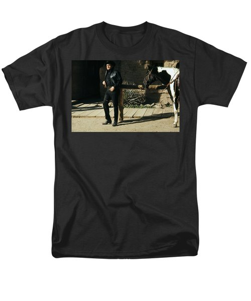 Men's T-Shirt  (Regular Fit) featuring the photograph Johnny Cash Horse Old Tucson Arizona 1971 by David Lee Guss