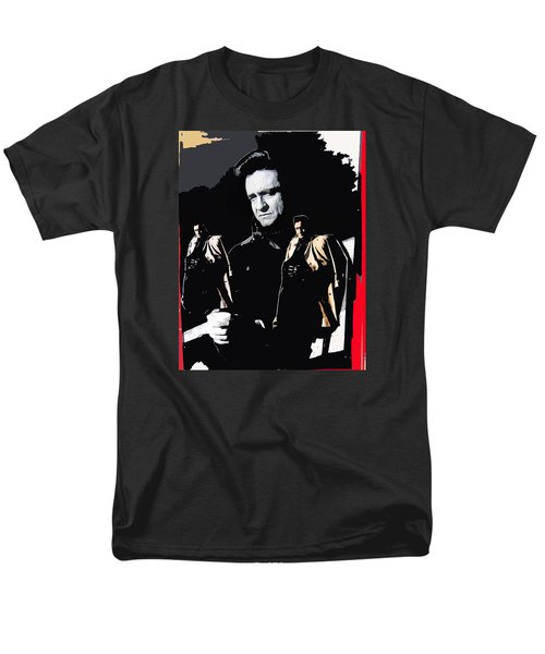 Men's T-Shirt  (Regular Fit) featuring the photograph Johnny Cash Multiples  Trench Coat Sitting Collage 1971-2008 by David Lee Guss