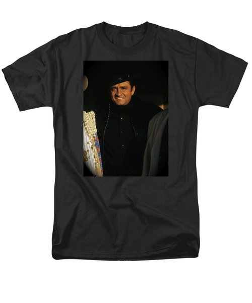 Men's T-Shirt  (Regular Fit) featuring the photograph Johnny Cash Music Homage Solitary Man Flanked By Chill Wills  Andy Devine Old Tucson Az 1971 by David Lee Guss