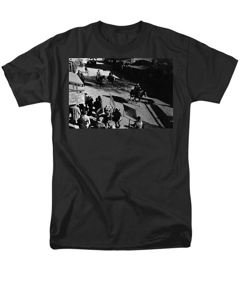 Men's T-Shirt  (Regular Fit) featuring the photograph Johnny Cash Riding Horse Filming Promo Main Street Old Tucson Arizona 1971 by David Lee Guss