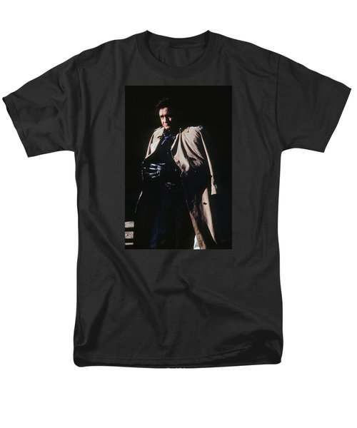 Men's T-Shirt  (Regular Fit) featuring the photograph Johnny Cash Trench Coat Old Tucson Arizona 1971 by David Lee Guss