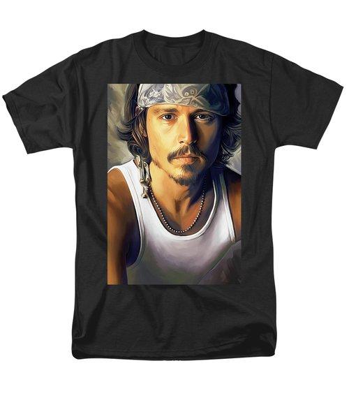 Johnny Depp Artwork Men's T-Shirt  (Regular Fit) by Sheraz A