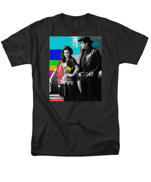 Men's T-Shirt  (Regular Fit) featuring the photograph June Carter Cash Johnny Cash In Costume Old Tucson Az 1971-2008 by David Lee Guss