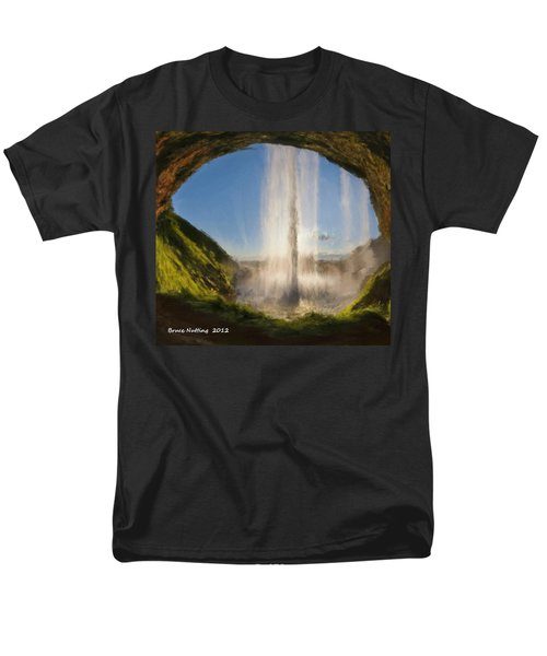 Men's T-Shirt  (Regular Fit) featuring the painting Karen's Waterfalls by Bruce Nutting
