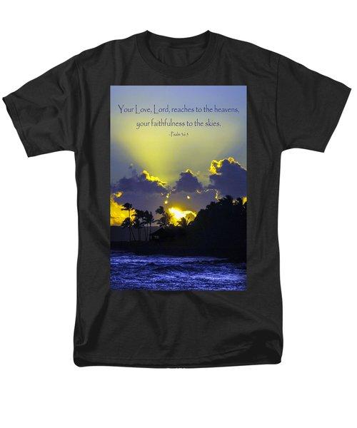 Kauai Sunset Psalm 36 5 Men's T-Shirt  (Regular Fit) by Debbie Karnes