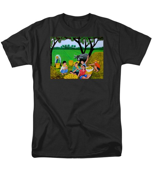 Men's T-Shirt  (Regular Fit) featuring the painting Kids Eating Mangoes by Cyril Maza