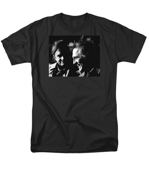 Men's T-Shirt  (Regular Fit) featuring the photograph Kirk Douglas Laughing Johnny Cash Old Tucson Arizona 1971 by David Lee Guss