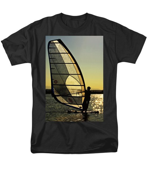 Men's T-Shirt  (Regular Fit) featuring the photograph Kiteboarder Sunset by Sonya Lang