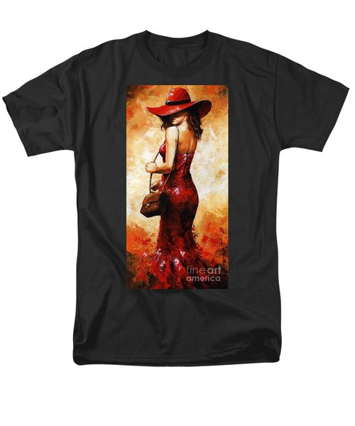 Lady In Red  30 Men's T-Shirt  (Regular Fit) by Emerico Imre Toth