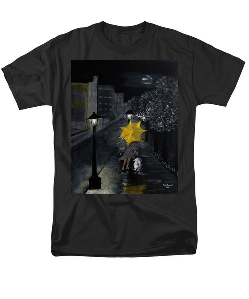 Lady With Yellow Umbrella And White Dog Men's T-Shirt  (Regular Fit) by Dick Bourgault