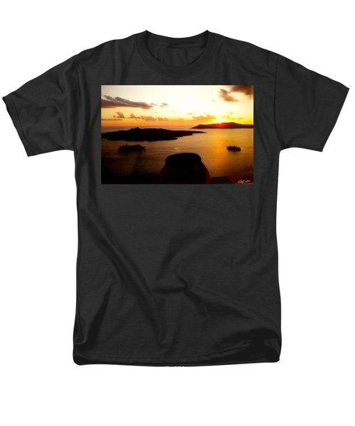 Late Sunset Santorini  Island Greece Men's T-Shirt  (Regular Fit) by Colette V Hera  Guggenheim