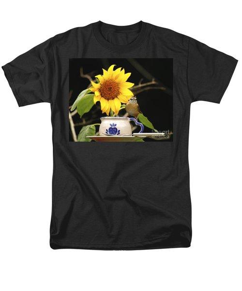 Men's T-Shirt  (Regular Fit) featuring the photograph Carolina Wren Bird And Tea Cup by Luana K Perez