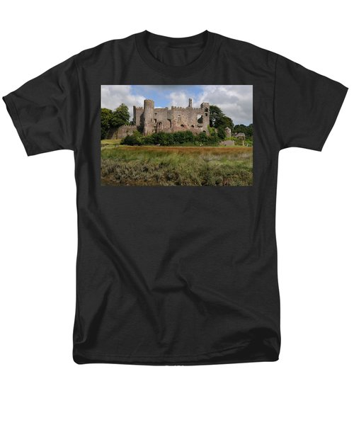 Men's T-Shirt  (Regular Fit) featuring the photograph Laugharne Castle by Jeremy Voisey