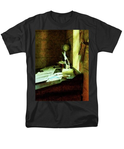 Men's T-Shirt  (Regular Fit) featuring the photograph Lawyer - Desk With Quills And Papers by Susan Savad