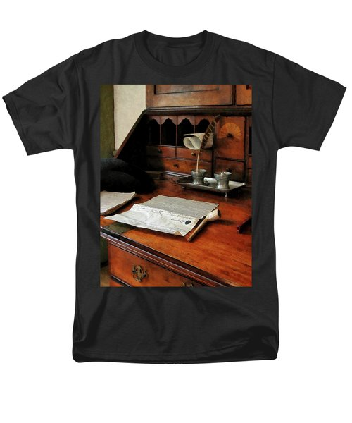 Men's T-Shirt  (Regular Fit) featuring the photograph Lawyer - Quill Papers And Pipe by Susan Savad