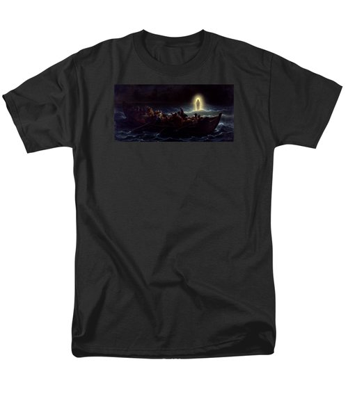 Men's T-Shirt  (Regular Fit) featuring the painting Le Christ Marchant Sur La Mer by Amedee Varint