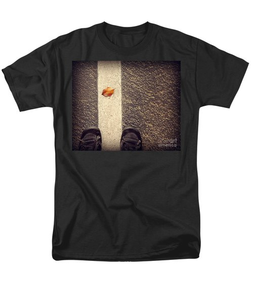 Men's T-Shirt  (Regular Fit) featuring the photograph Leaf On The Line by Meghan at FireBonnet Art