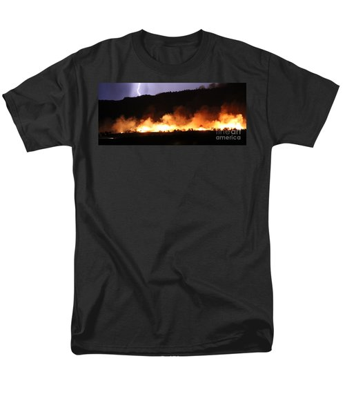Men's T-Shirt  (Regular Fit) featuring the photograph Lightning During Wildfire by Bill Gabbert