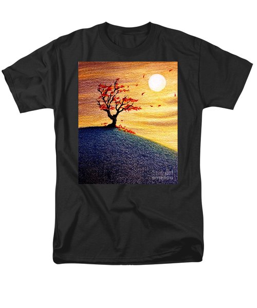Men's T-Shirt  (Regular Fit) featuring the drawing Little Autumn Tree by Danielle R T Haney