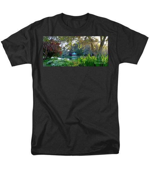 Men's T-Shirt  (Regular Fit) featuring the photograph Looking Across Stow Lake At The Pagoda In Golden Gate Park by Jim Fitzpatrick