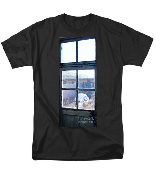 Men's T-Shirt  (Regular Fit) featuring the photograph Looking Out The Kitchen Door In February by Ethna Gillespie