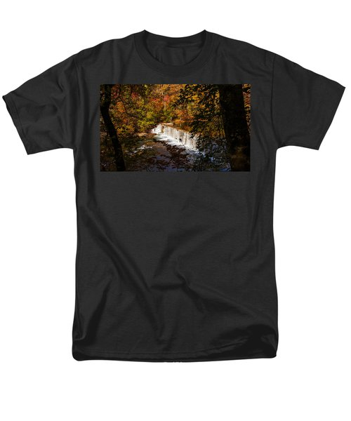 Looking Through Autumn Trees On To Waterfalls Fine Art Prints As Gift For The Holidays  Men's T-Shirt  (Regular Fit) by Jerry Cowart