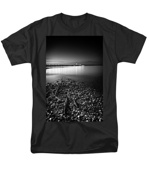 Men's T-Shirt  (Regular Fit) featuring the photograph Mackinac Bridge Bw by Larry Carr