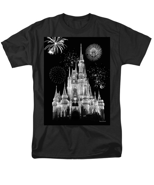 Magic Kingdom Castle In Black And White With Fireworks Walt Disney World Men's T-Shirt  (Regular Fit) by Thomas Woolworth
