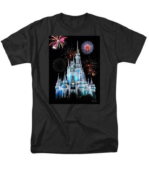 Magic Kingdom Castle In Frosty Light Blue With Fireworks 06 Men's T-Shirt  (Regular Fit) by Thomas Woolworth