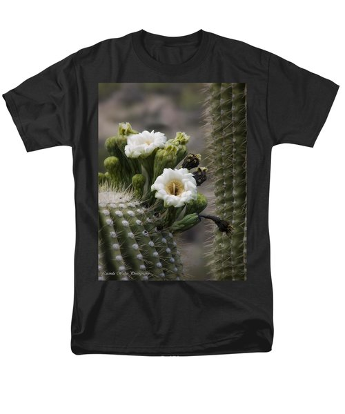 Men's T-Shirt  (Regular Fit) featuring the photograph Magnificant Bloom Of The Saguaro by Lucinda Walter