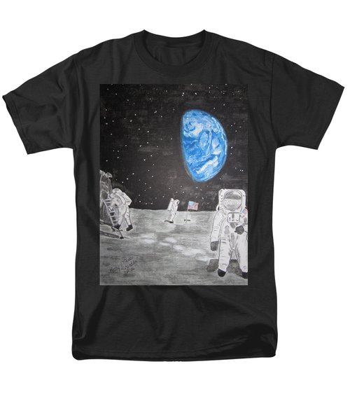 Men's T-Shirt  (Regular Fit) featuring the painting Man On The Moon by Kathy Marrs Chandler