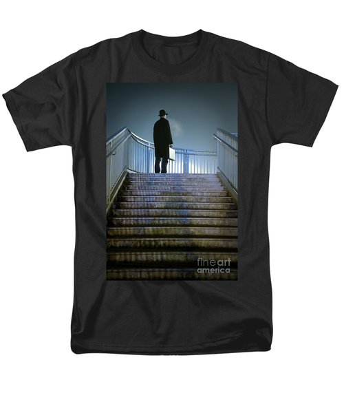 Men's T-Shirt  (Regular Fit) featuring the photograph Man With Case At Night On Stairs by Lee Avison