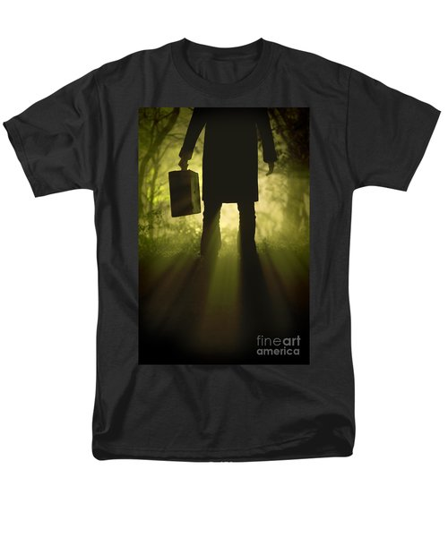 Men's T-Shirt  (Regular Fit) featuring the photograph Man With Case In Fog by Lee Avison