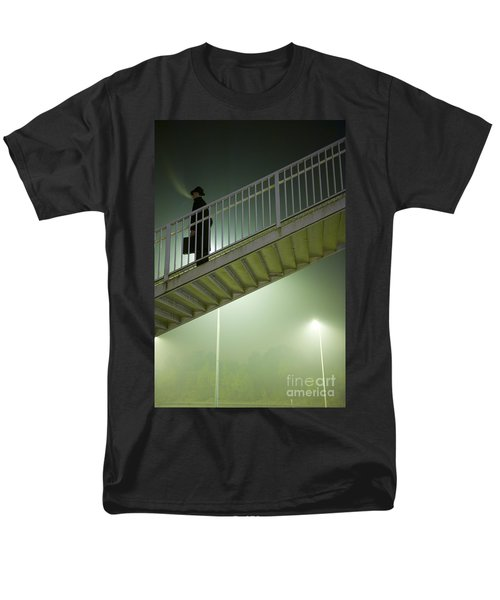 Men's T-Shirt  (Regular Fit) featuring the photograph Man With Case On Steps Nighttime by Lee Avison