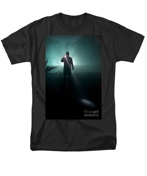 Men's T-Shirt  (Regular Fit) featuring the photograph Man With Flashlight  by Lee Avison