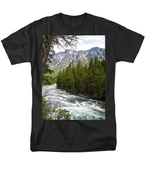 Mcdonald Creek In Glacier Np-mt Men's T-Shirt  (Regular Fit) by Ruth Hager