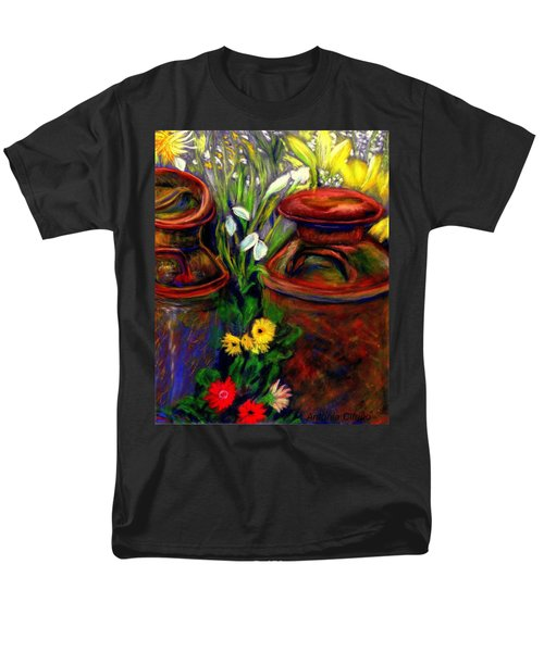 Men's T-Shirt  (Regular Fit) featuring the pastel Milk Cans At Flower Show Sold by Antonia Citrino