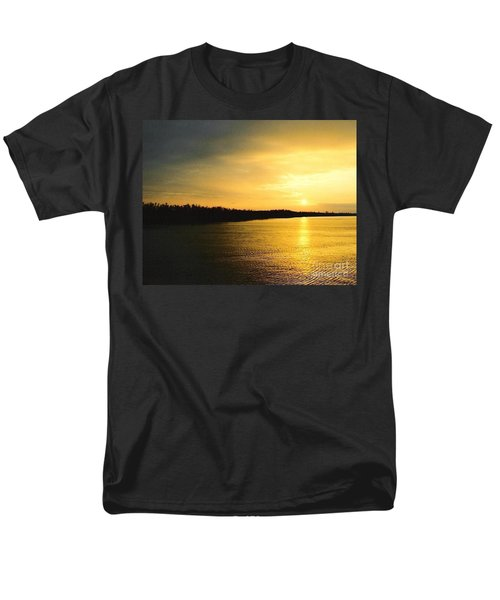 Men's T-Shirt  (Regular Fit) featuring the photograph Sunrise Over The Mississippi River Post Hurricane Katrina Chalmette Louisiana Usa by Michael Hoard