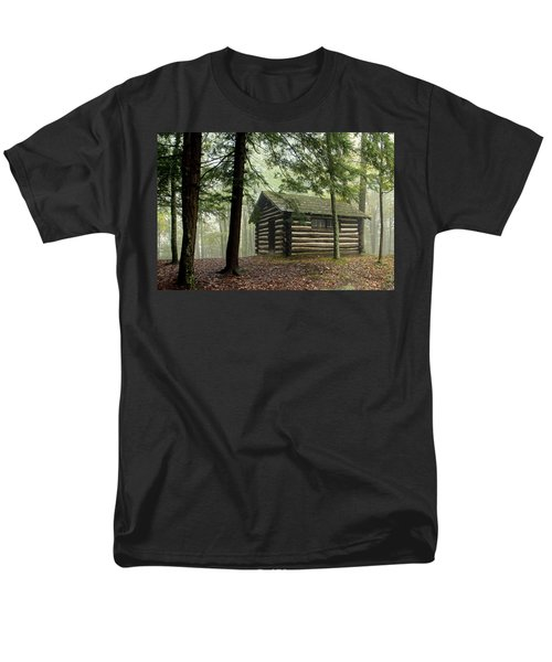 Misty Morning Cabin Men's T-Shirt  (Regular Fit) by Suzanne Stout