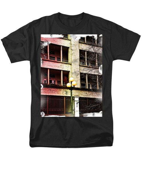 Men's T-Shirt  (Regular Fit) featuring the digital art Modern Grungy City Building  by Valerie Garner