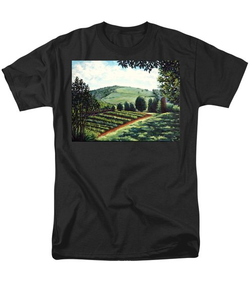 Men's T-Shirt  (Regular Fit) featuring the painting Monticello Vegetable Garden by Penny Birch-Williams