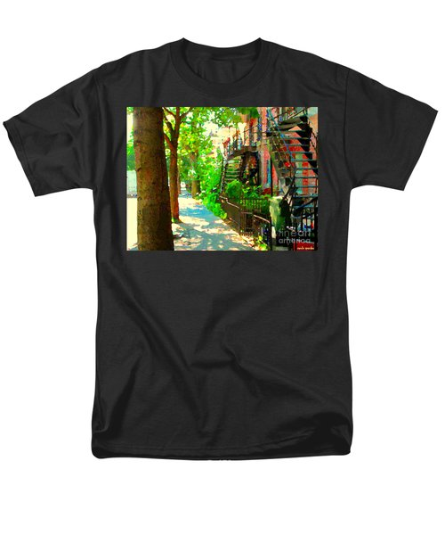 Montreal Art Colorful Winding Staircase Scenes Tree Lined Streets Of Verdun Art By Carole Spandau Men's T-Shirt  (Regular Fit) by Carole Spandau