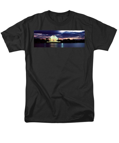 Monument Lit Up At Dusk, Jefferson Men's T-Shirt  (Regular Fit) by Panoramic Images
