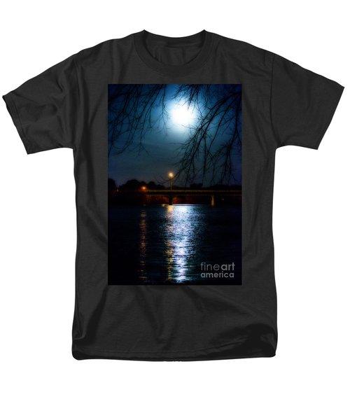 Men's T-Shirt  (Regular Fit) featuring the photograph Moon Set Lake Pleasurehouse by Angela DeFrias