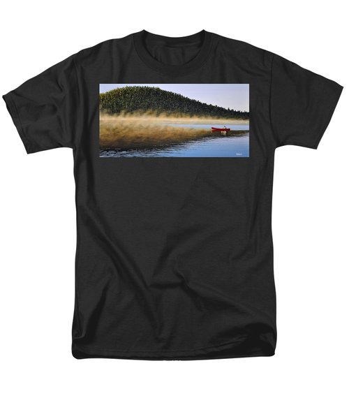 Men's T-Shirt  (Regular Fit) featuring the painting Moose Lake Paddle by Kenneth M  Kirsch