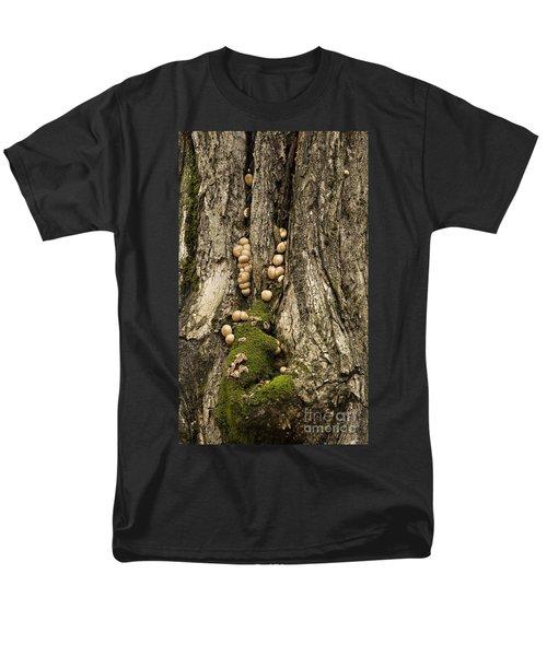 Men's T-Shirt  (Regular Fit) featuring the photograph Moss-shrooms On A Tree by Carol Lynn Coronios