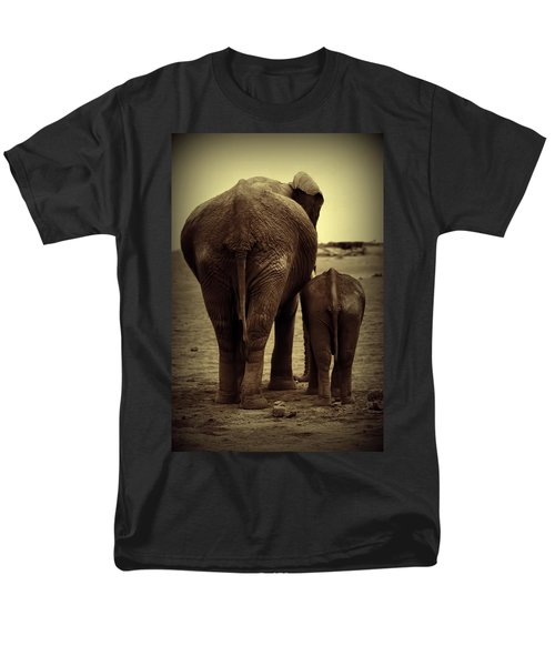 Mother And Baby Elephant In Black And White Men's T-Shirt  (Regular Fit) by Amanda Stadther